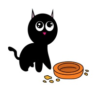 hungry cartoon cat