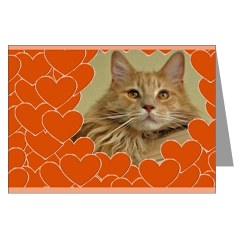 red maine coon cat valentine card