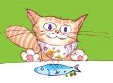 cartoon cat eating fish