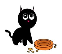 hungry cartoon cat