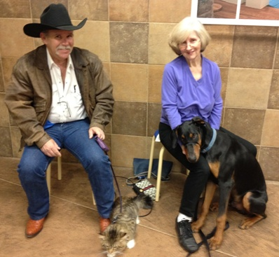 Me, my man servant, and his sister with her dog at Pet's Mart class.